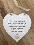 Shabby Personalised Chic Godmother Heart Plaque Christening Baptism Godparents
